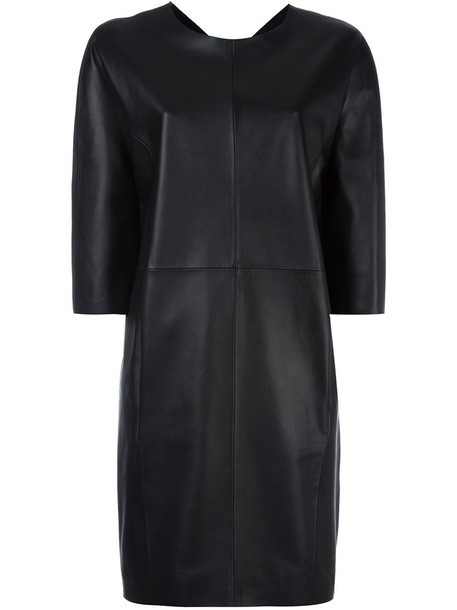 MAISON MARGIELA dress shift dress women leather black silk