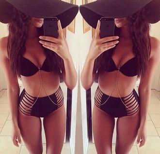 swimwear black bikini high waisted bikini top cut out swimwear
