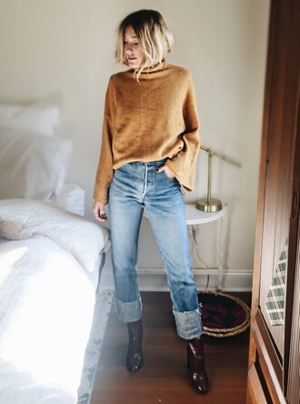 sweater tumblr beige sweater bell sleeves bell sleeve sweater denim jeans blue jeans cuffed jeans boots patent boots patent shoes