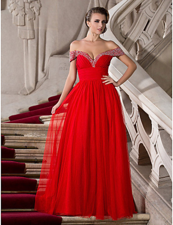 dress, prom, gown, off the shoulder red diamond prom dress, prom ...