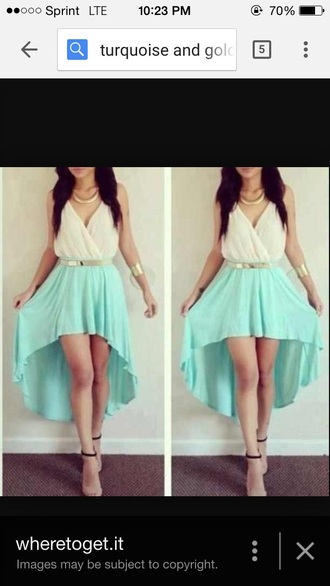 dress turquoise white dress gold dress