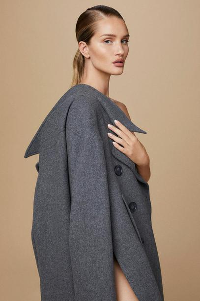 coat editorial model fall coat grey rosie huntington-whiteley