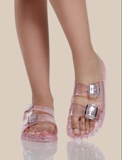 shoes,girly,pink,clear jellies,sandals,flat sandals,flats,cute sandals