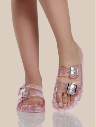 shoes girly pink clear jellies sandals flat sandals flats cute sandals