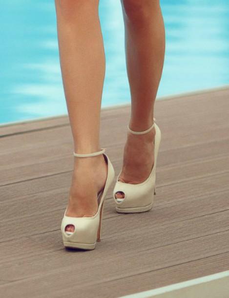shoes heels heels with platform cream high heels cream heels with straps prom shoes