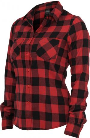 urban classics ladies checked flanell shirt schwarz rot damen hemd hemden damen bluse. Black Bedroom Furniture Sets. Home Design Ideas