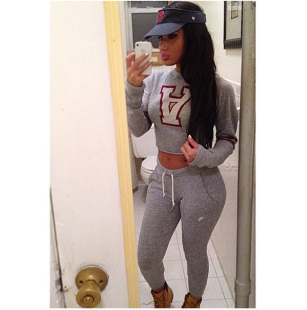 grey cropped sweater joggers