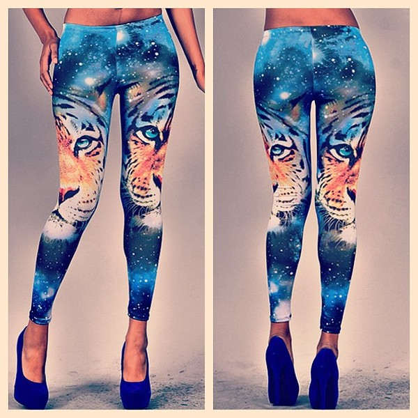 pants tiger galaxy print print leggings makeup table vanity row jeans