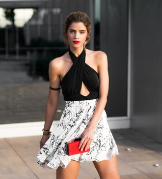 ms treinta blogger top skirt shoes bag clutch red bag mini skirt floral skirt summer outfits