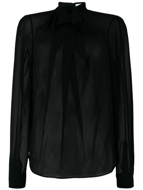 Carven blouse sheer blouse sheer ruffle women black top