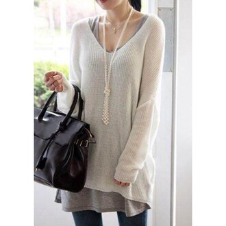 sweater white white sweater sweater dress loose loose fit sweater warm comfy off the shoulder off the shoulder sweater black bag fall outfits asian plunge v neck knitwear knitted sweater knitted dress college back to school winter outfits casual fall colors cute fashion