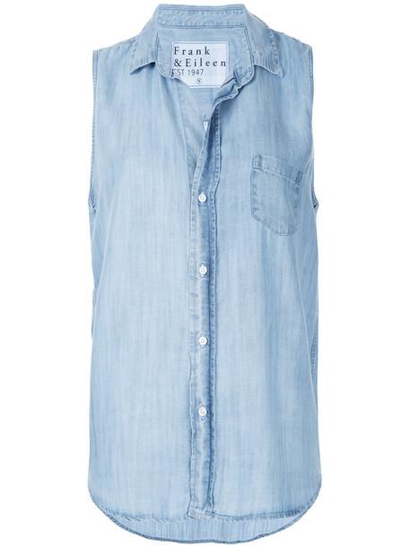 FRANK & EILEEN shirt sleeveless shirt sleeveless women cotton blue top