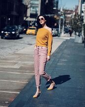 pants,top,crop tops,red pants,two-piece,soes,shoes,bag,black and yellow top,yellow shoes