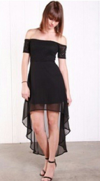 dress off the shoulder black high low