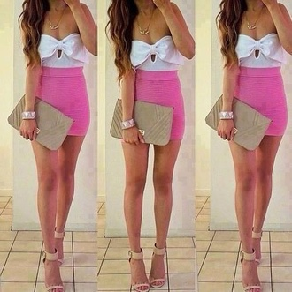 tank top white bow top white dress bowtop pinkskirt pink skirt blouse top body con