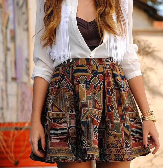 skater skirt circle skirt print multicolor