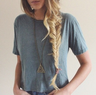 jewels t-shirt vintage jeans braid boho indie triangle shirt