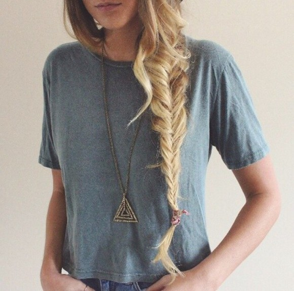 shirt jewels t-shirt triangle vintage jeans braid boho indie