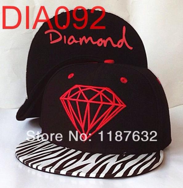 hat diamonds red black zebra pattern snapback