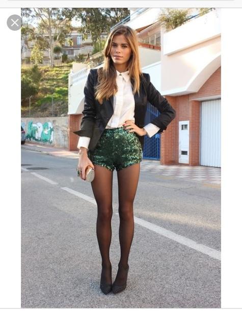 shorts green sparkle sequins jacket
