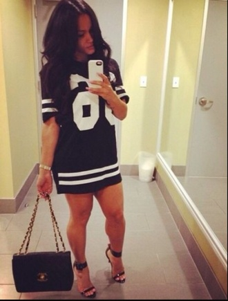 dress jersey dress chanel bag shoes