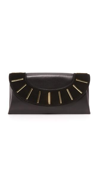 envelope clutch clutch leather suede black bag
