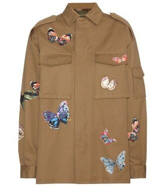jacket embroidered cotton green