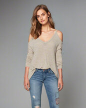 sweater,jeans,cold shoulder sweater