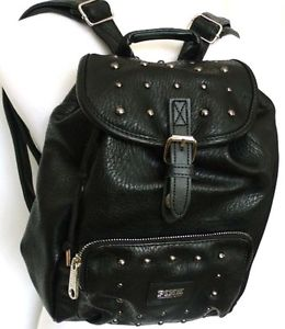 NWT! VICTORIA'S SECRET PINK BLACK FAUX LEATHER STUDDED MINI BACKPACK BOOKBAG
