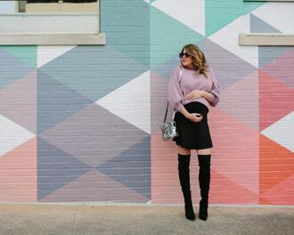 lifelutzurious blogger sweater skirt shoes bag jewels shoulder bag lavender sweater maternity spring outfits boots over the knee boots