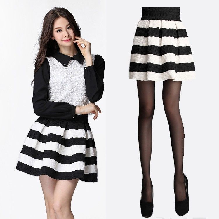 Hot Fashion Womens Girls Mini Dress Retro Flared Black and White Stripe Skirt | eBay