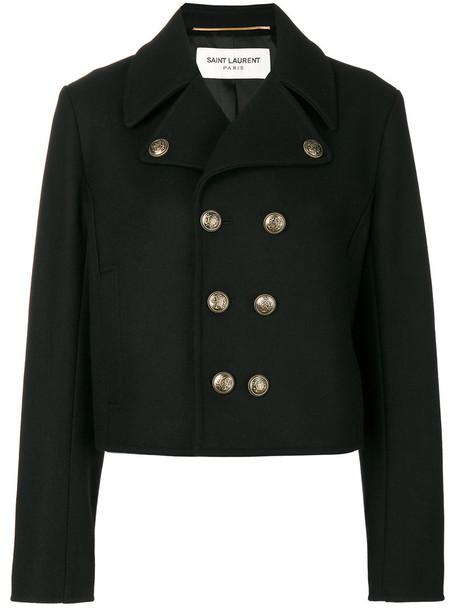 Saint Laurent jacket short women cotton black wool