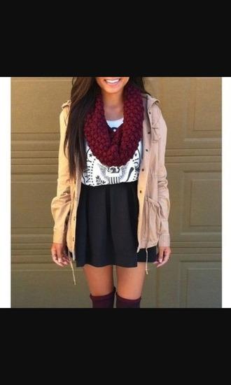 skirt red scarf white white shirt cardigan black black skirt jacket tan