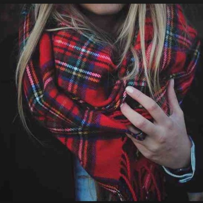 scarf style cozy warm outerwear red plaid scarf red