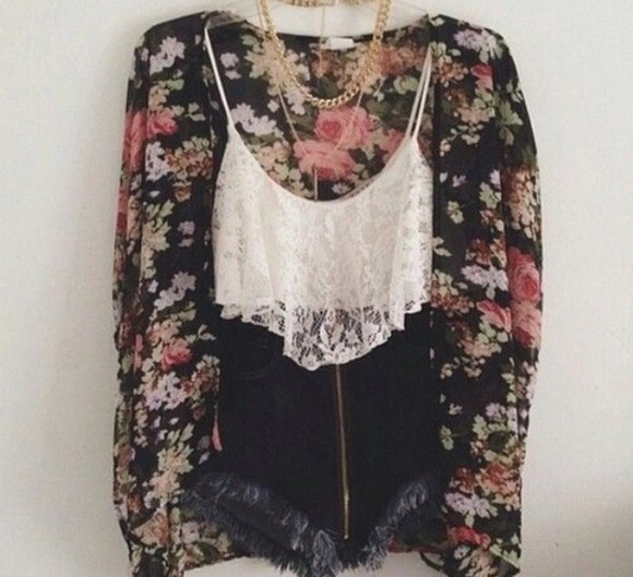 top floral kimono lace tank top high waisted denim shorts outfits