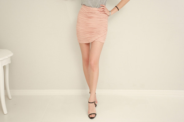 skirt pink wave tulip skirt mini skirt