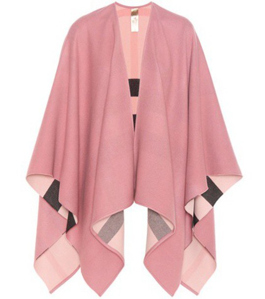 Burberry London Reversible Merino Wool Poncho in pink