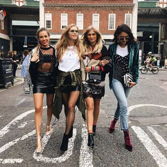 shoes velvet boots velvet streetstyle london fashion week 2016 fashion week 2016 fashion week jeans blue jeans blazer skirt black leather skirt leather skirt mini skirt mesh top jacket denim jacket t-shirt white t-shirt black boots