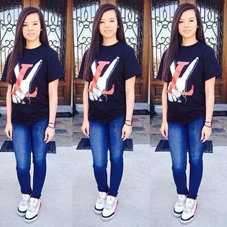 shirt skinny pants dope swag pretty girl sweater t-shirt jordans air jordan tank top