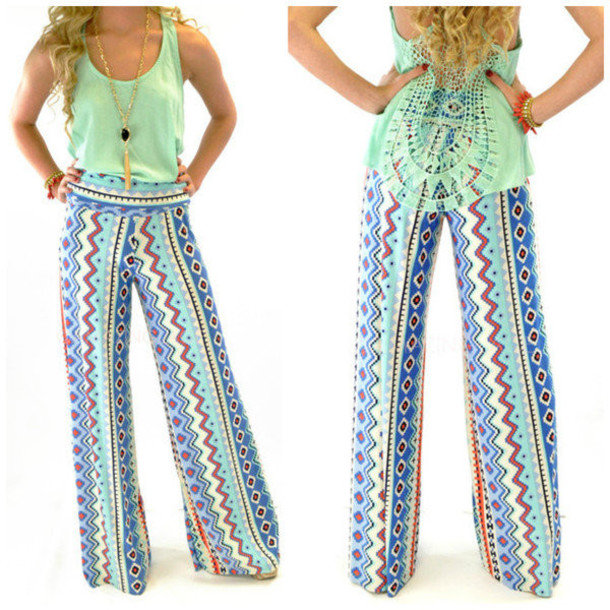 Pants Palazzo Pants Yoga Wide Leg Tribal Pattern Spring Impressive Palazzo Pants Pattern