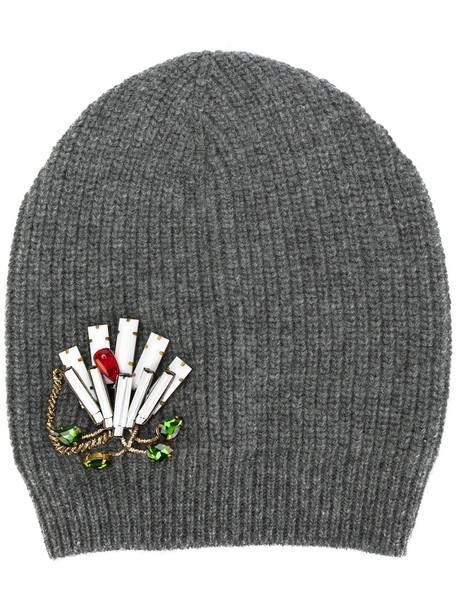 embellished hat beanie knitted beanie grey