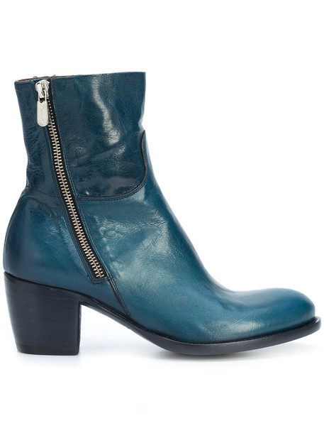 ROCCO P. heel women ankle boots leather blue shoes