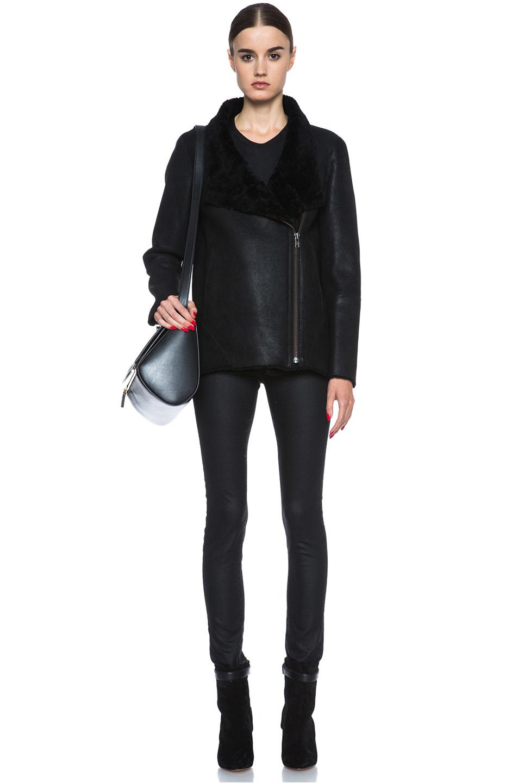 Helmut Lang | Wrecked Shearling Jacket in Black