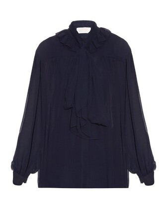 blouse long ruffle navy top