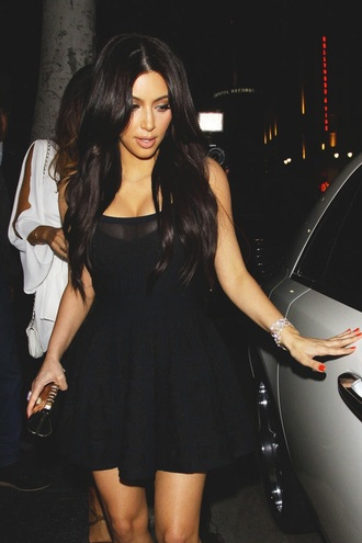 kim kardashian black dress skater dress mesh dress