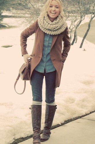 riding boots coat tall boots jeans denim denim shirt forever scarf infinity scarf brown coat pruse brown purse bag shirt jacket shoes
