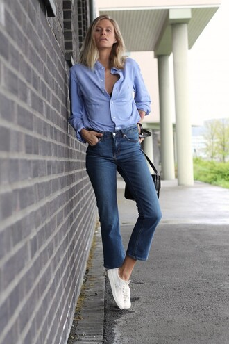 the fashion eaters blogger jeans blue shirt casual