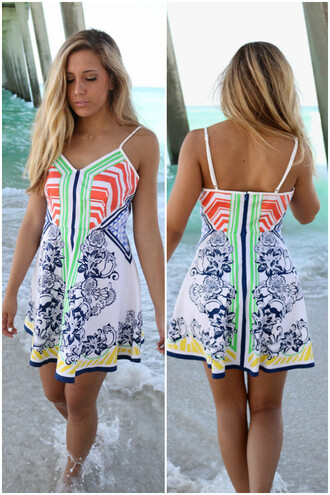 dress amazinglace amazinglace.com colorful aztec printed flare skirt sundress summer beach