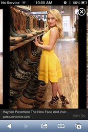 dress,yellow,yellow dress,country,country style,hayden panettiere,cotton,cute,summer,fit-and-flare,summer dress,shoes