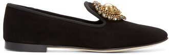 skull heart loafers suede black shoes
